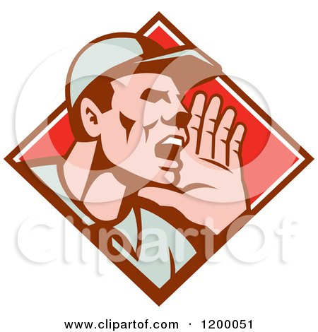 Clipart of a Retro Worker Holding up His Hand and Shouting in a Diamond - Royalty Free Vector Illustration by patrimonio