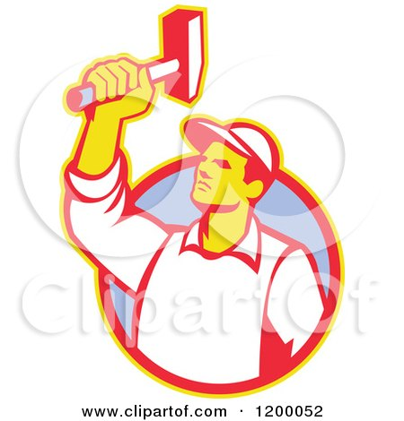 Clipart of a Retro Union Worker Holding up a Hammer over a Circle - Royalty Free Vector Illustration by patrimonio