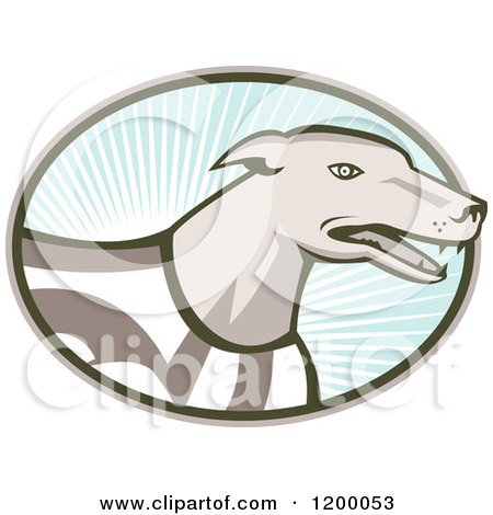 Clipart of a Retro Racing Greyhound Dog in an Oval of Rays on Blue - Royalty Free Vector Illustration by patrimonio