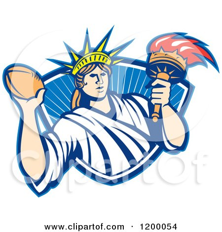 Clipart of a Retro Statue of Liberty Holding a Football and Torch over a Shield - Royalty Free Vector Illustration by patrimonio