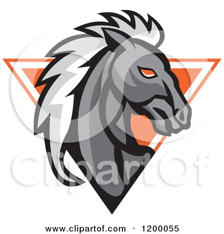 Clipart of a Retro Gray Horse Head over an Orange Triangle - Royalty Free Vector Illustration by patrimonio