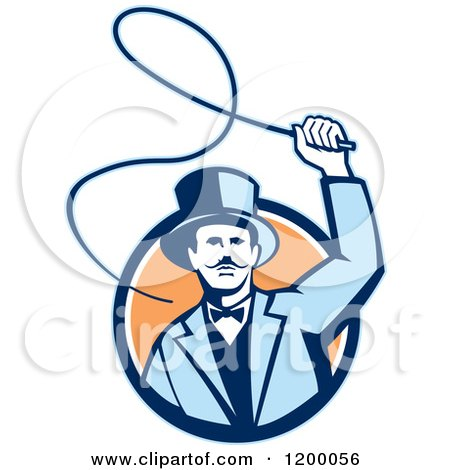 Clipart of a Retro Circus Ring Master Man Cracking a Whip over a Circle - Royalty Free Vector Illustration by patrimonio