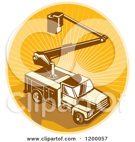 Clipart of a Retro Bucket Truck over an Oval of Rays - Royalty Free Vector Illustration by patrimonio