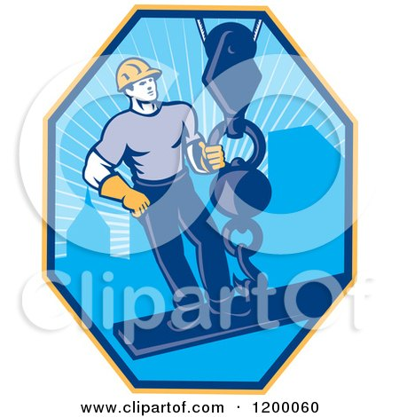 Clipart of a Retro Construction Worker on a Girder Being Hoisted in a Hexagon - Royalty Free Vector Illustration by patrimonio