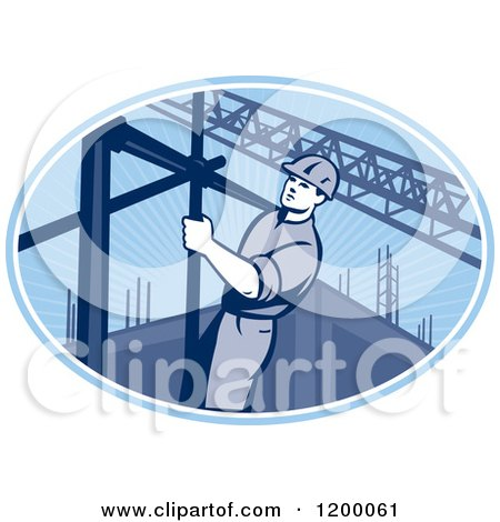 Clipart of a Retro Construction Worker on Scaffolding in a Blue Oval - Royalty Free Vector Illustration by patrimonio