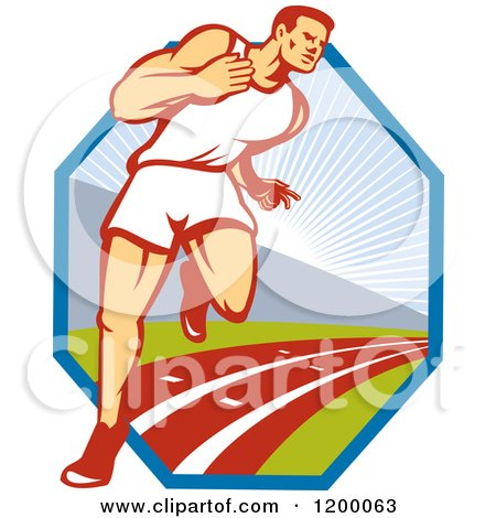 Clipart of a Retro Marathon Runner Man on a Track over a Hexagon - Royalty Free Vector Illustration by patrimonio