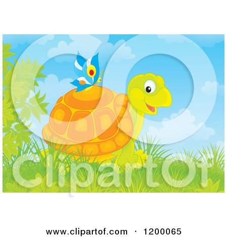 Cartoon of a Butterfly on a Happy Tortoise - Royalty Free Vector Clipart by Alex Bannykh