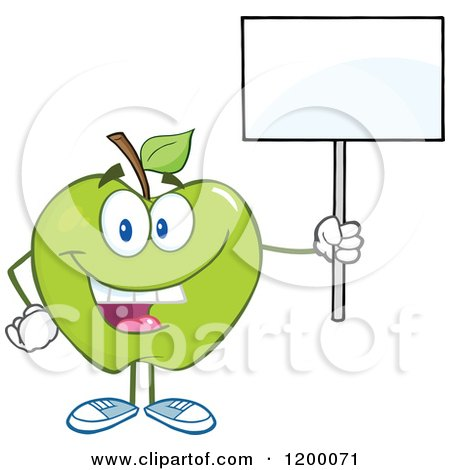Cartoon of a Happy Green Apple Mascot Holding a Sign - Royalty Free Vector Clipart by Hit Toon