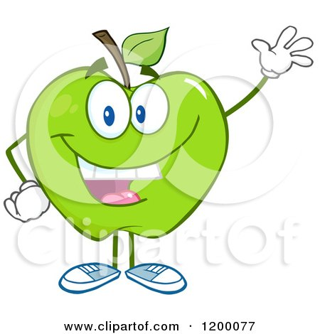 Cartoon of a Friendly Green Apple Mascot Waving - Royalty Free Vector Clipart by Hit Toon