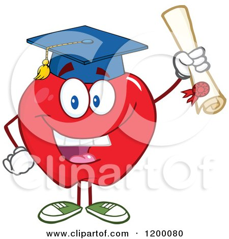 Cartoon of a Graduate Red Apple Mascot Holding a Diploma - Royalty Free Vector Clipart by Hit Toon