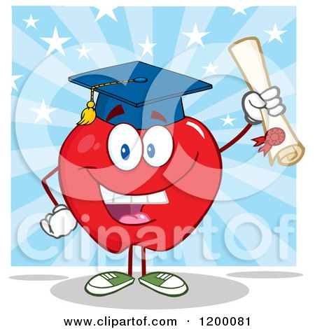 Cartoon of a Graduate Red Apple Mascot Holding a Diploma over Blue Rays and Stars - Royalty Free Vector Clipart by Hit Toon