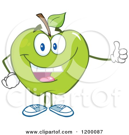 Cartoon of a Happy Green Apple Mascot Holding a Thumb up - Royalty Free Vector Clipart by Hit Toon