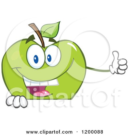 Cartoon of a Happy Green Apple Mascot Holding a Thumb up over a Sign - Royalty Free Vector Clipart by Hit Toon