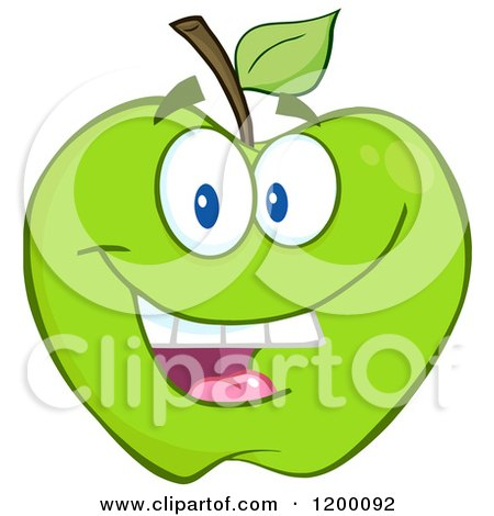 Cartoon of a Smiling Green Apple Mascot - Royalty Free Vector Clipart by Hit Toon