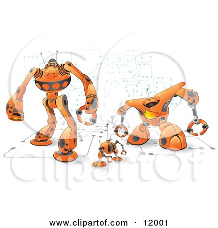 Orange Computer Protection Robots Clipart Illustration by Leo Blanchette