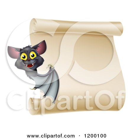 Cartoon of a Happy Halloween Vampire Bat Presenting a Scroll Sign - Royalty Free Vector Clipart by AtStockIllustration