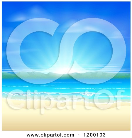 Blue Sunrise over a Beach with White Sands, Mountains and Blue Water Posters, Art Prints