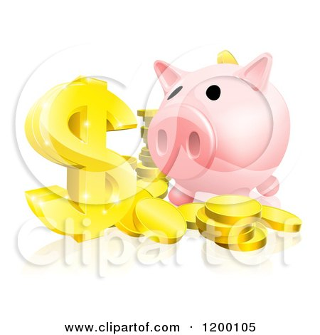 Cartoon of a Pink Piggy Bank and Abundance of Gold Coins and Dollar Symbol - Royalty Free Vector Clipart by AtStockIllustration