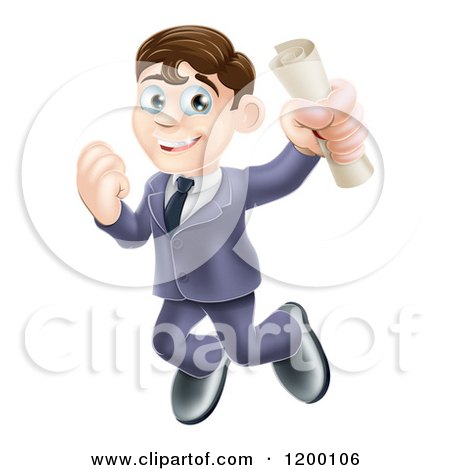 Cartoon of a Happy Brunette Graduate Business Man Jumping and Holding a Diploma - Royalty Free Vector Clipart by AtStockIllustration