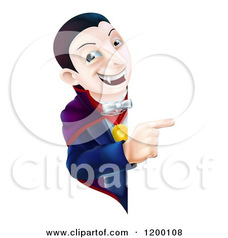 Cartoon of a Smiling Vampire Looking Around and Pointing to a Sign - Royalty Free Vector Clipart by AtStockIllustration