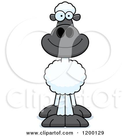 Cartoon of a Happy Sheep - Royalty Free Vector Clipart by Cory Thoman