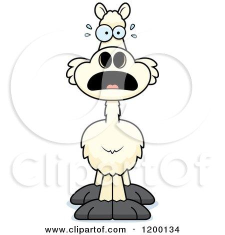 Cartoon of a Scared Llama - Royalty Free Vector Clipart by Cory Thoman
