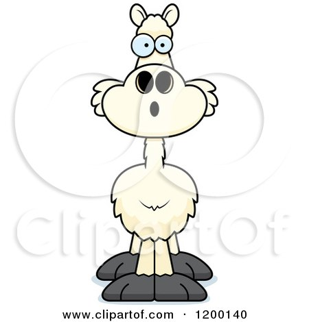 Cartoon of a Surprised Llama - Royalty Free Vector Clipart by Cory Thoman