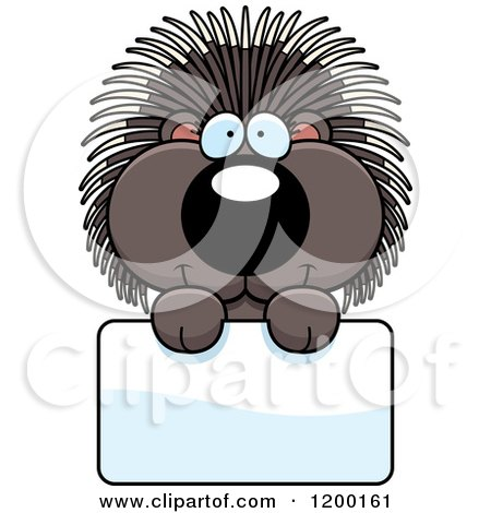 Cartoon of a Cute Happy Porcupine over a Sign - Royalty Free Vector Clipart by Cory Thoman