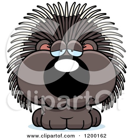 Cartoon of a Depressed Porcupine Porcupet - Royalty Free Vector Clipart by Cory Thoman