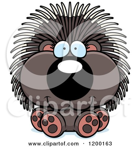 Cartoon of a Cute Sitting Porcupine - Royalty Free Vector Clipart by Cory Thoman