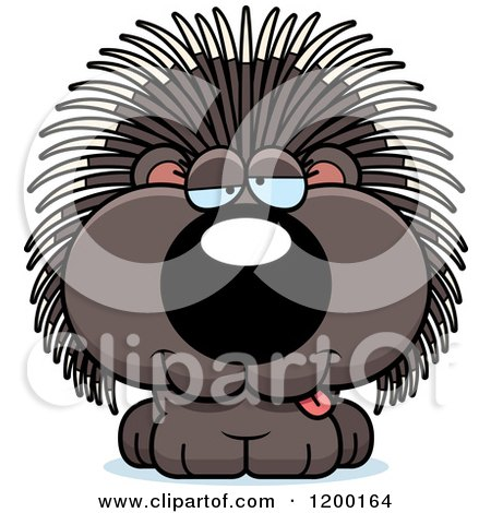 Cartoon of a Drunk Porcupine Porcupet - Royalty Free Vector Clipart by Cory Thoman