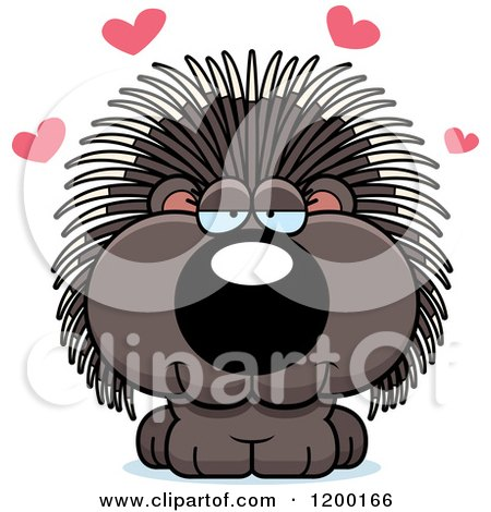 Cartoon of a Cute Loving Porcupine with Hearts - Royalty Free Vector Clipart by Cory Thoman