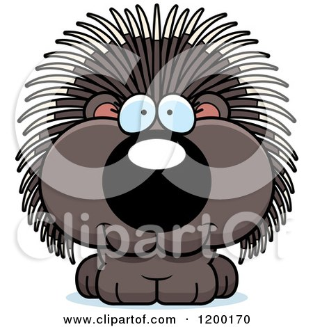 Cartoon of a Cute Happy Porcupine - Royalty Free Vector Clipart by Cory Thoman