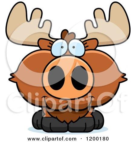Cartoon of a Cute Happy Moose Calf - Royalty Free Vector Clipart by Cory Thoman