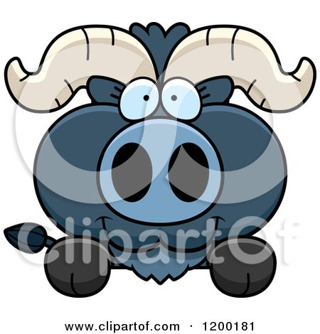 Cartoon of a Cute Blue Ox Calf over a Ledge or Sign - Royalty Free Vector Clipart by Cory Thoman
