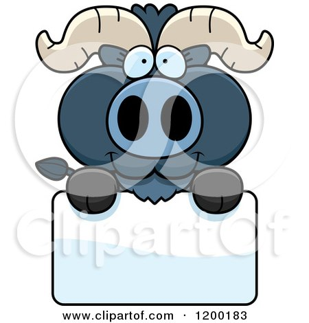 Cartoon of a Cute Blue Ox Calf over a Sign - Royalty Free Vector Clipart by Cory Thoman