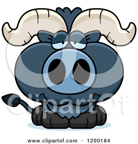 Cartoon of a Depressed Blue Ox Calf - Royalty Free Vector Clipart by Cory Thoman
