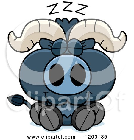 Cartoon of a Sleeping Cute Blue Ox Calf - Royalty Free Vector Clipart by Cory Thoman