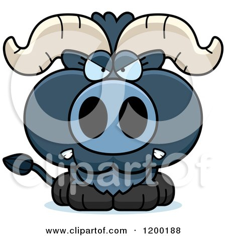 Cartoon of a Mad Blue Ox Calf - Royalty Free Vector Clipart by Cory Thoman