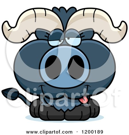 Cartoon of a Drunk Blue Ox Calf - Royalty Free Vector Clipart by Cory Thoman
