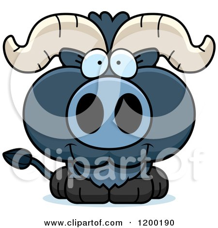 Cartoon of a Cute Happy Blue Ox Calf - Royalty Free Vector Clipart by Cory Thoman