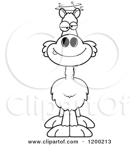 Cartoon of a Black and White Drunk Llama - Royalty Free Vector Clipart by Cory Thoman