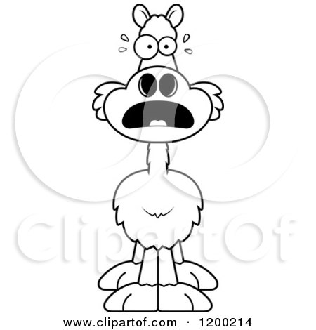 Cartoon of a Black and White Scared Llama - Royalty Free Vector Clipart by Cory Thoman