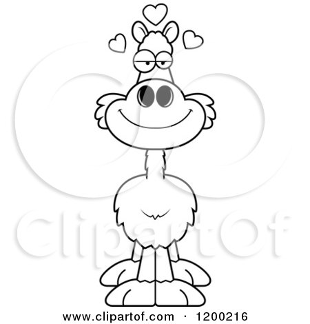 Cartoon of a Black and White Loving Llama with Hearts - Royalty Free Vector Clipart by Cory Thoman