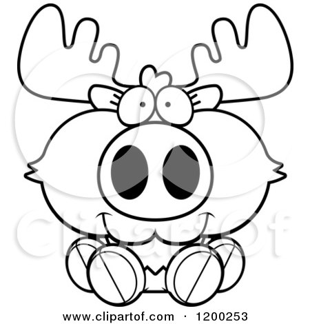 Cute Moose Clipart Black And White