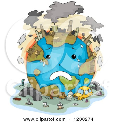 Cartoon Of A Sad Polluted Earth Crying Royalty Free Vector Clipart