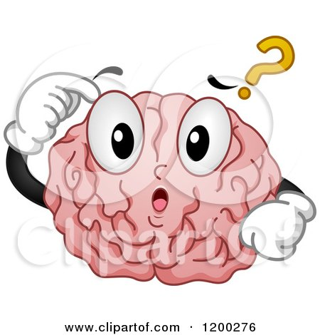 Cartoon of a Confused Brain Mascot with a Question Mark - Royalty Free Vector Clipart by BNP Design Studio