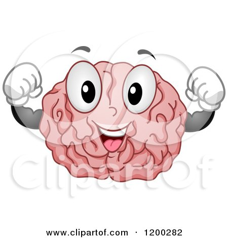 Cartoon of a Happy Strong Brain Mascot Flexing - Royalty Free Vector Clipart by BNP Design Studio