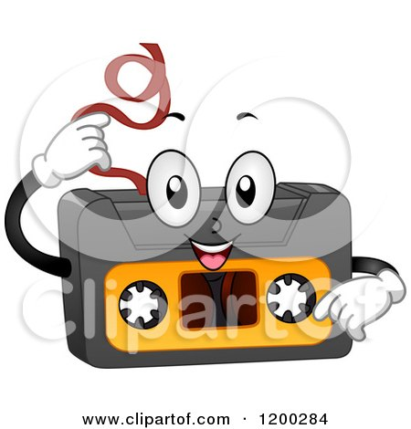 Cartoon of a Happy Cassette Tape Mascot Pulling out Its Insides - Royalty Free Vector Clipart by BNP Design Studio