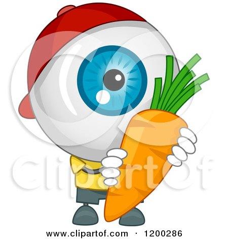 Cartoon of an Eyeball Mascot Holding a Carrot - Royalty Free Vector Clipart by BNP Design Studio